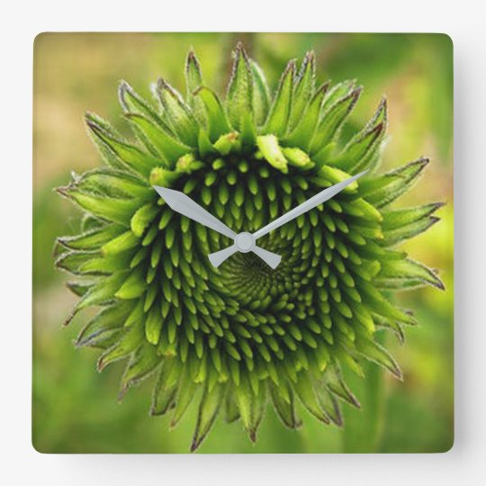 Green Flower Square Wall Clock