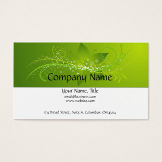 Green Flower Star Business Card