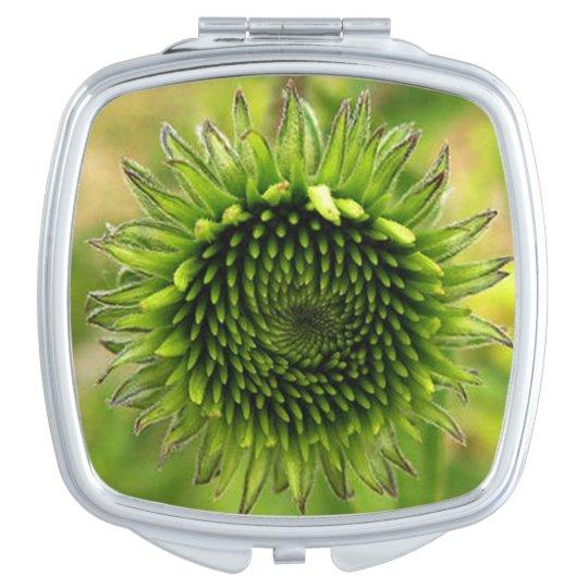 Green Flower Travel Mirror