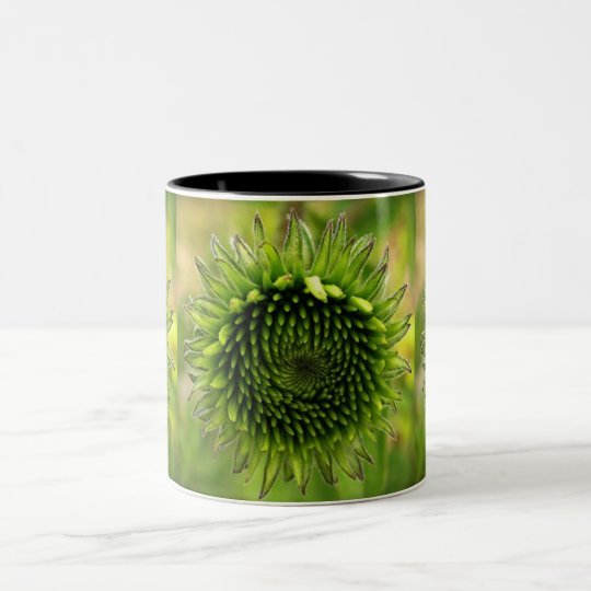 Green Flower Two-Tone Coffee Mug
