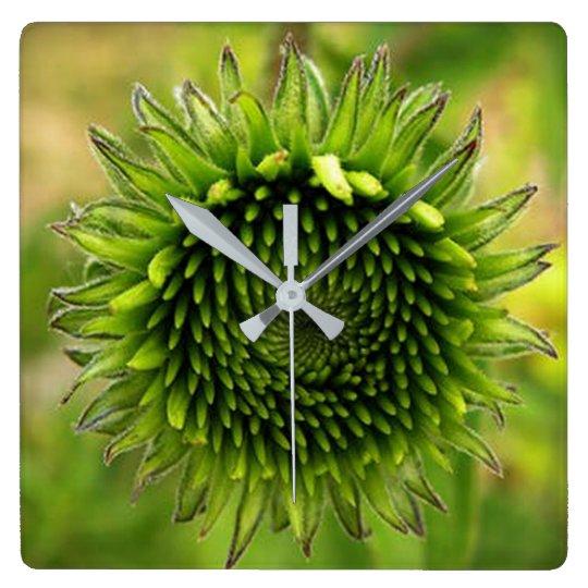 Green Flower Wallclock