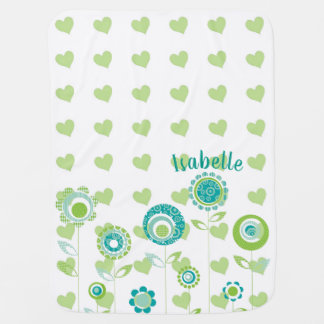 Green Flowers and Polka Dots Nursery Baby Blanket