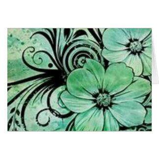 Green Flowers Card