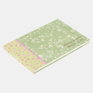 Green Flowers Country Wedding Guest Book