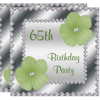 "Green Flowers & Diamonds 65th Birthday 5.25"" Square Invitation Card"