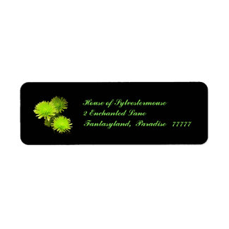 Green Flowers on Black Address Labels