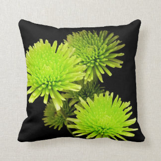Green Flowers on Black Pillow