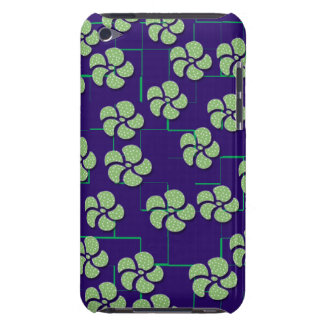 GREEN FLOWERS ON BLUE iPod Touch Case-Mate Case