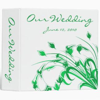 Green Flowers on White 3 Ring Binders
