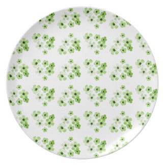 Green Flowers Pattern Plate