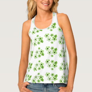 Green Flowers Tank Top