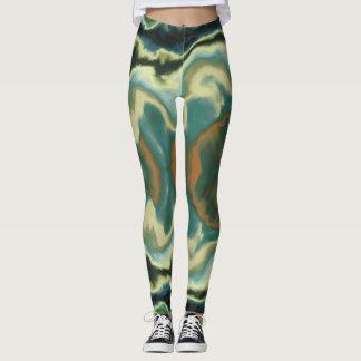 green fluid fractal leggings