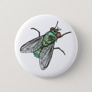 green fly - imitation of embroidery 2 inch round button