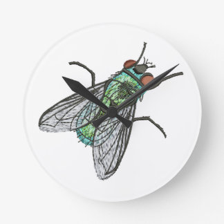 green fly - imitation of embroidery round clock