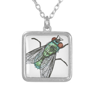 green fly silver plated necklace