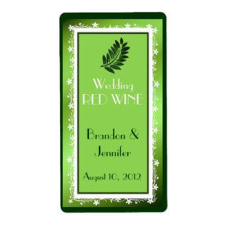 Green Foil Look Wedding Mini Wine Labels
