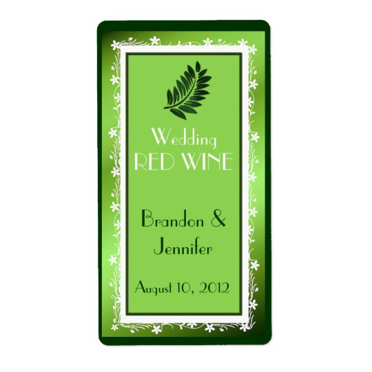 Green Foil Look Wedding Mini Wine Labels