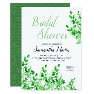 Green Foliage | Calligraphy Bridal Shower Card