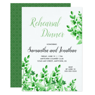 Green Foliage | Calligraphy Rehearsal Dinner Card