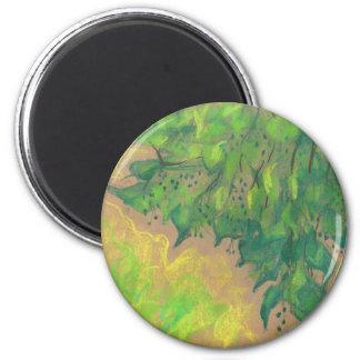 """Green Foliage"", floral design, pastel drawing Magnet"