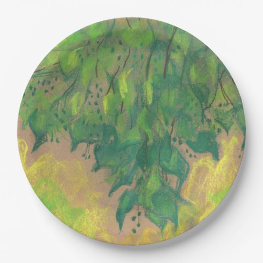 Green foliage, soft pastel life sketch tree branch 9 inch paper plate