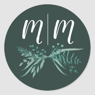Green Foliage Sticker with Customizable Initials
