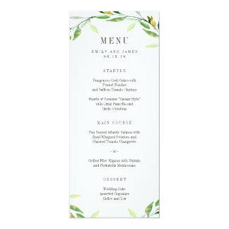 Green Foliage Wedding Menu Card