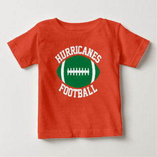 Green Football Baby Custom Team Name/Text & Number Baby T-Shirt