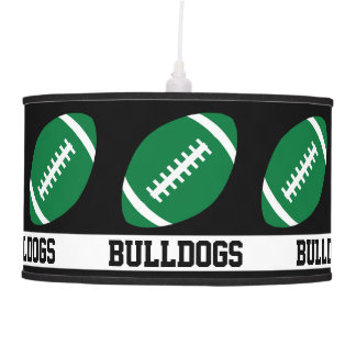 Green Football Custom Team Name & Color Sports Bar Pendant Lamp