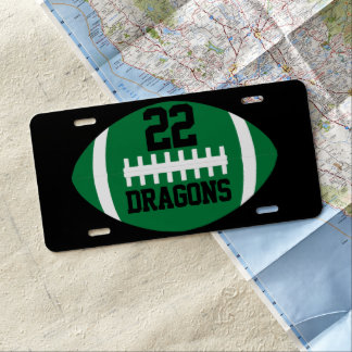 Green Football Tailgate Player Number & Team Name License Plate