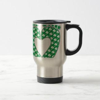 Green Footprint Heart Travel Mug