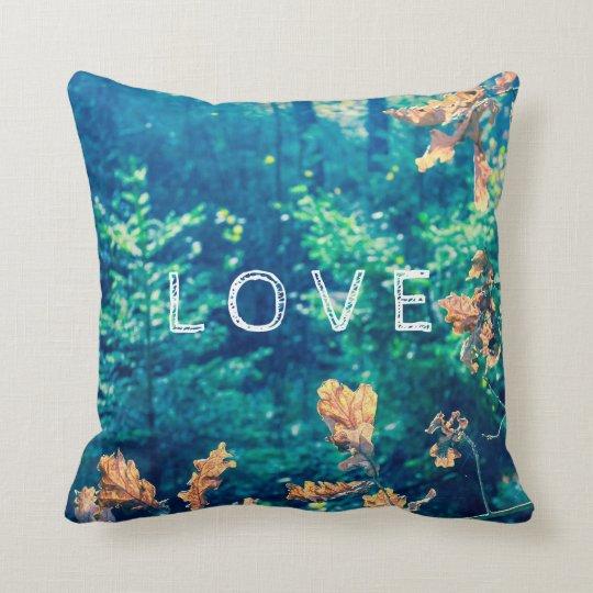 """Green forest, """"Love"""" pillow. Throw Pillow"""
