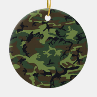 Green Forest Military Camouflage Pattern Ceramic Ornament