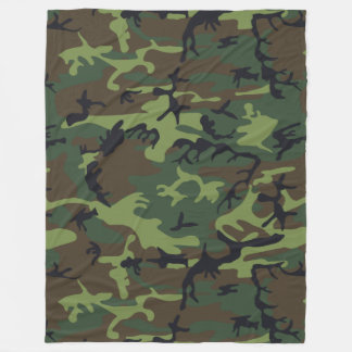 Green Forest Military Camouflage Pattern Fleece Blanket