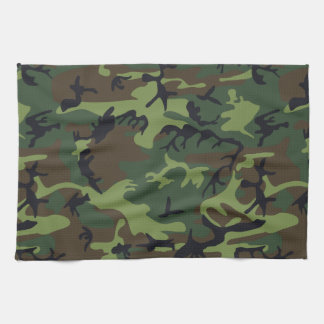 Green Forest Military Camouflage Pattern Kitchen Towel