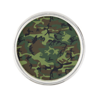 Green Forest Military Camouflage Pattern Lapel Pin