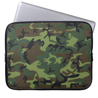 Green Forest Military Camouflage Pattern Laptop Sleeve