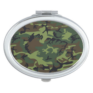 Green Forest Military Camouflage Pattern Makeup Mirror