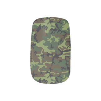 Green Forest Military Camouflage Pattern Minx Nail Art