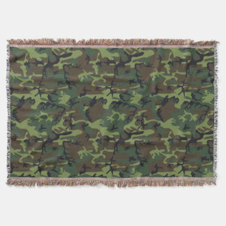 Green Forest Military Camouflage Pattern Throw Blanket