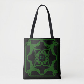 Green Four Hearts Flower Bordered Pattern Tote Bag
