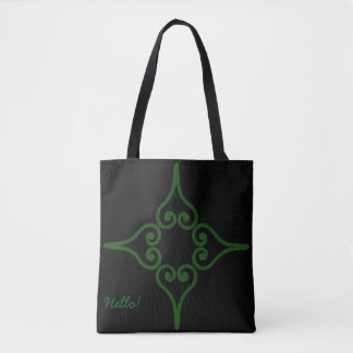 Green Four Hearts Flower Pattern Tote Bag