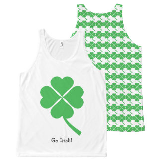 Green Four Leaf Clover All-Over-Print Tank Top