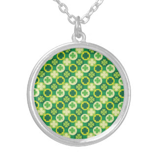 Green Four Leaf Clover and Circles Necklace