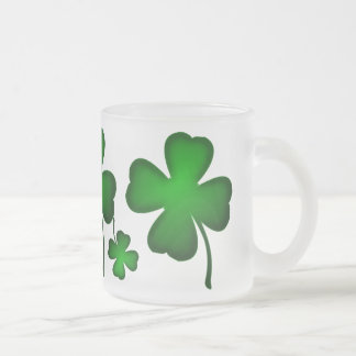 Green Four Leaf Clover Frosted Glass Coffee Mug