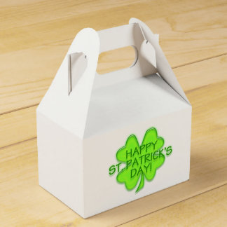 Green Four Leaf Clover Happy St. Paddy's Party Favor Box