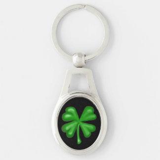 Green Four Leaf Clover Shamrock Keychain