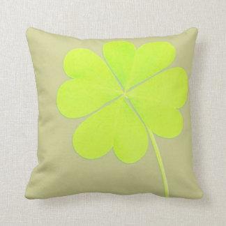 Green Four Leaf Clover Throw Pillow
