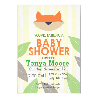 Green Fox Baby Shower Invitation