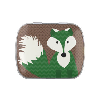 Green Fox on Brown Patterned Candy Tins